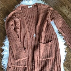 NWOT Sage The Label Distressed Knit Cardigan (M)